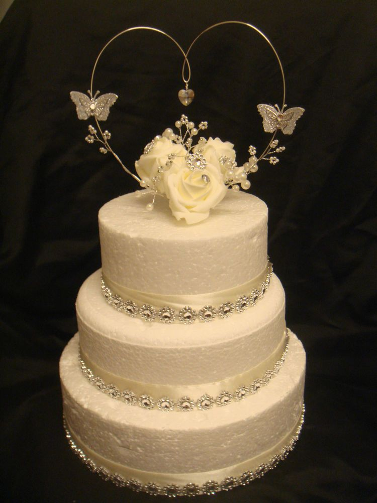 Rose crystal heart pearl butterfly wedding anniversary cake topper ...