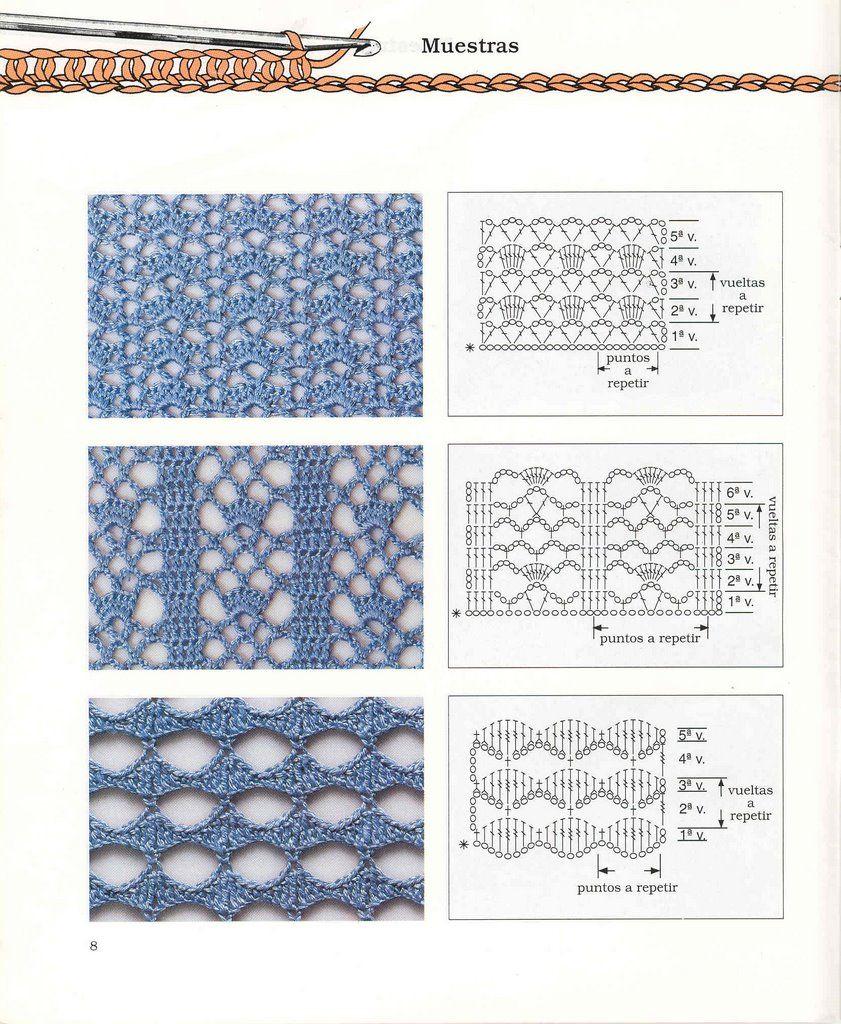 Puntos Diagramas Esquemas Patrones Crochet Ganchillo | Вязание ...