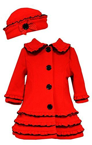 Bonnie Baby BabyGirls Red Coat  Hat with Black Trim  Buttons 03 Months *** Learn more by visiting the image link.