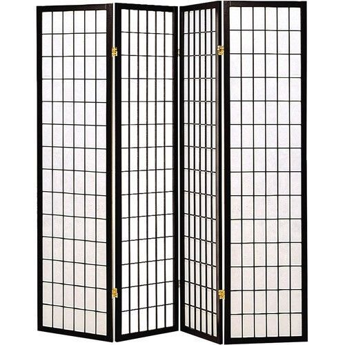 Wood 4 Panel Room Divider Folding Privacy Screen Tall Black Frame