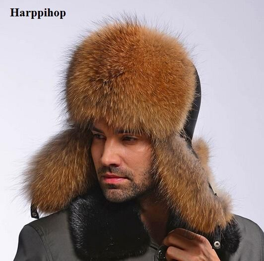 f6102b25fbe Star Fur 2017 Genuine Fox Fur Hats Men Real Raccoon Fur Lei Feng Caps  Russian Winter