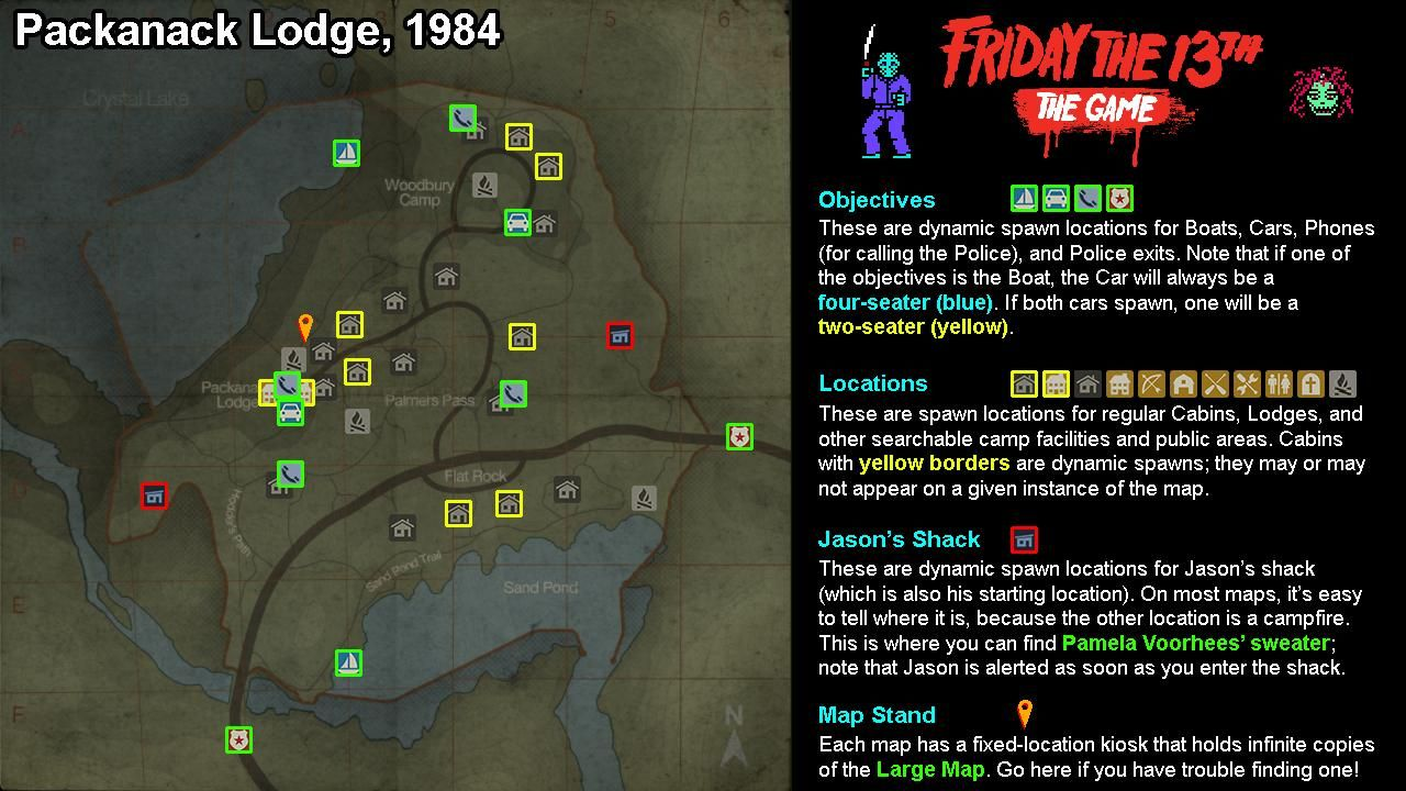 camp crystal lake map Friday The 13th The Game Full Maps With All Objective camp crystal lake map