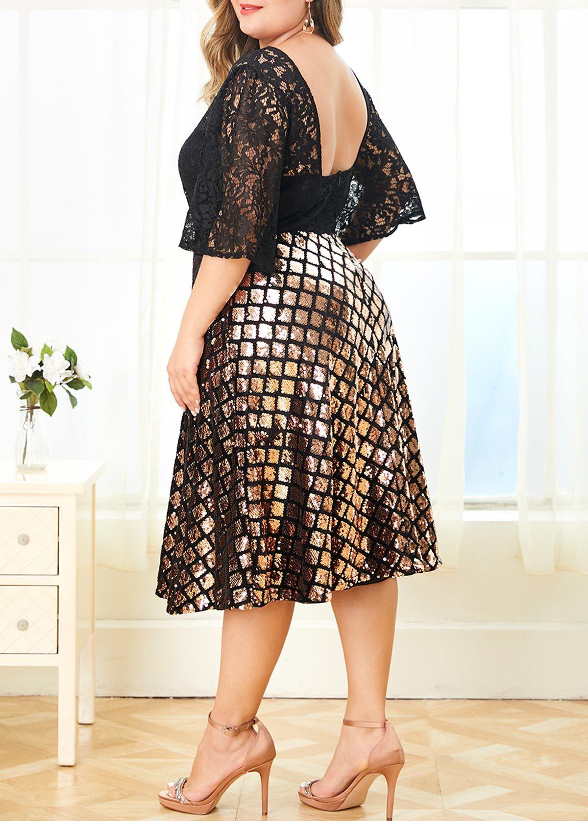 Zipper Back Lace Panel Plus Size Sparkle Dress | Rosewe.com ...