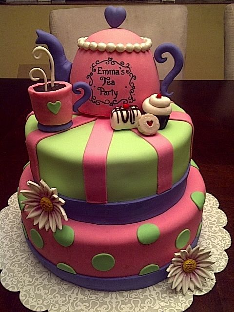 Tea Party Cake, like the color combos, looks like this tea pot could e made with my classic batter bowl upside down, cute heart on top.