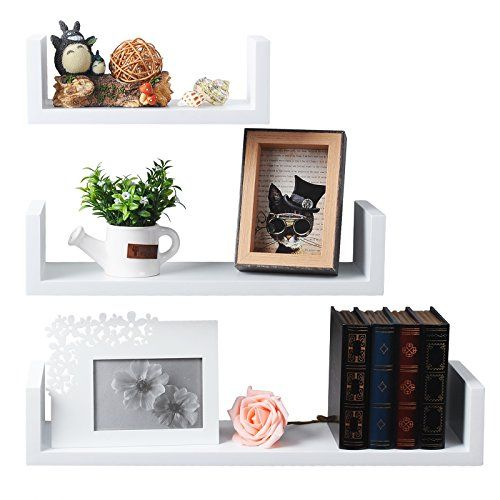 Woltu Awsx1001whi U Wall Shelf Floating Shelves Hanging Storage Bookshelf Mounted Display White Set Floating Shelves Hanging Storage Wall Mounted Wood Shelves