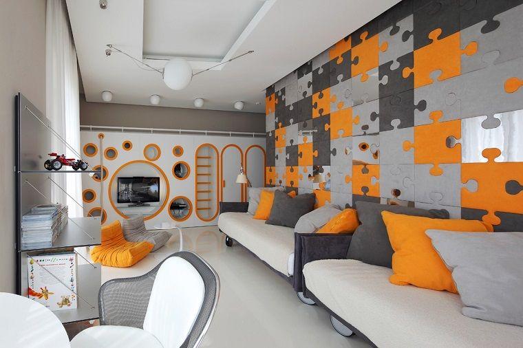 Cameretta Arancione Pareti : Cameretta pareti decorate arancione tonalita grigio interior