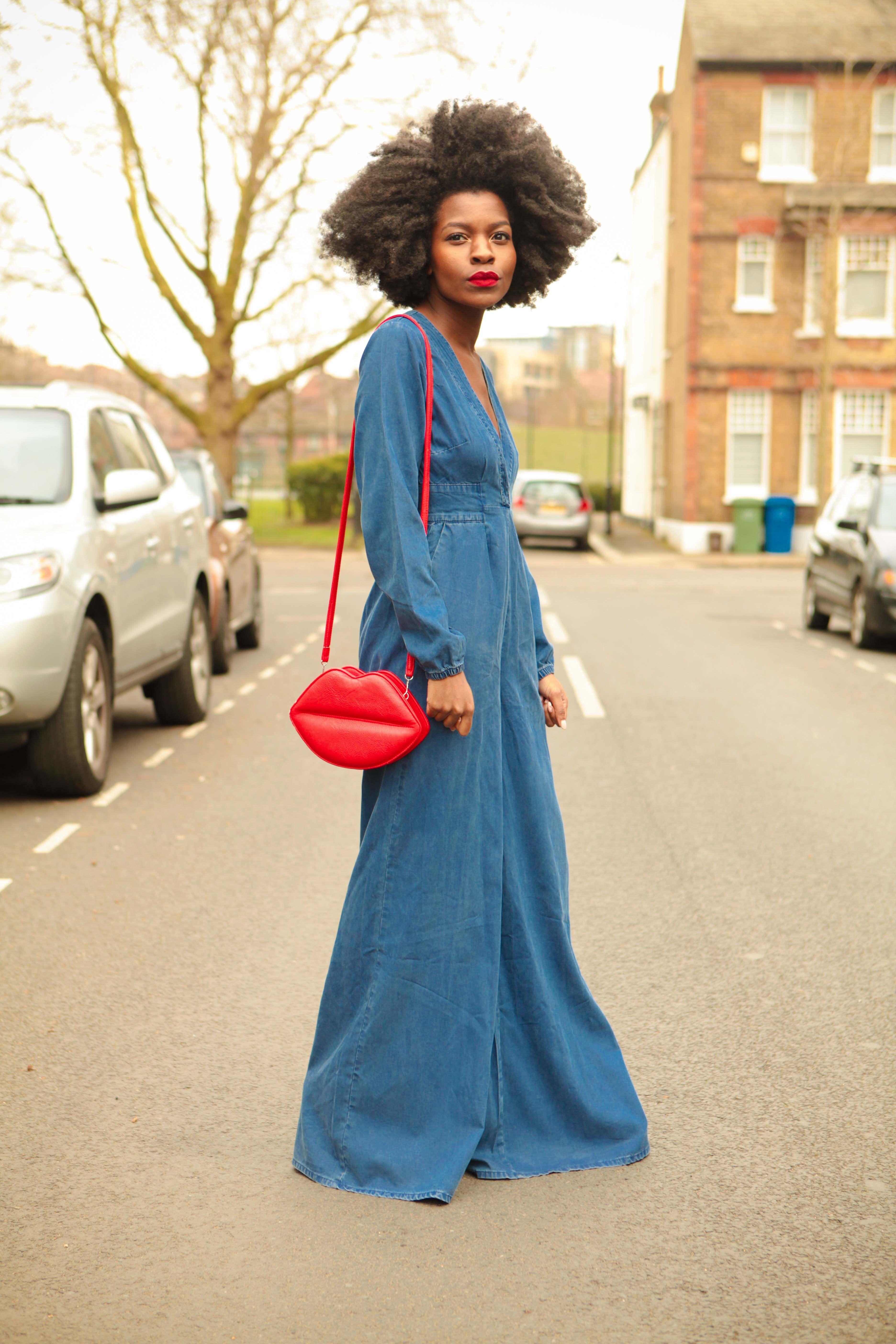 43ed751ef5a ASOS denim jumpsuit - lip clutch - afro - 70s - Freddie Harrel ...