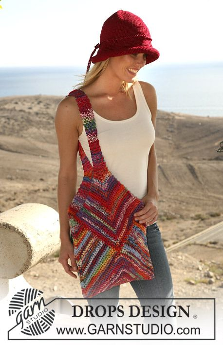 "Crochet DROPS hat in ""Muskat"" and bag with pointed top in double ..."