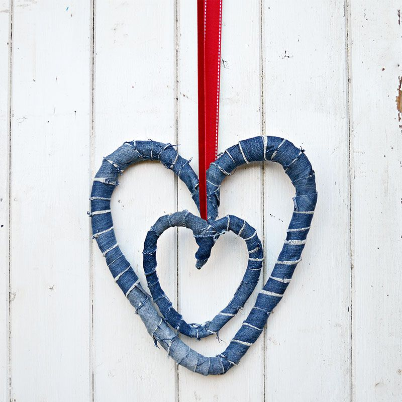How To Make Delightful Denim Hearts 2 Ways From Jeans Wreaths