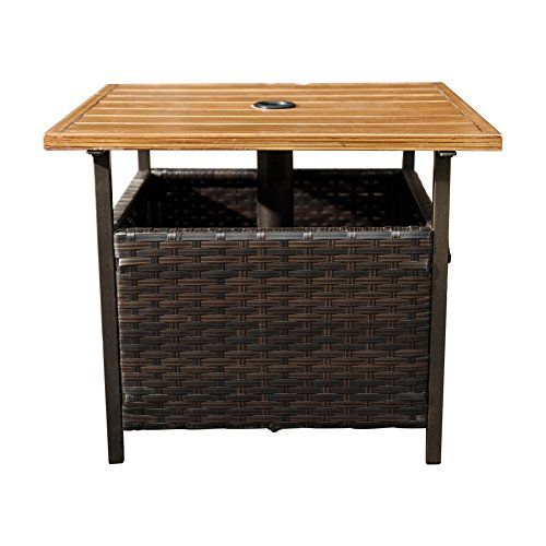Outdoor Tables Sunlife Outdoor Pe Wicker Stand Side Table Garden Patio Tea Coffee Table With Umbre Wicker Side Table Solid Wood Coffee Table Patio Side Table