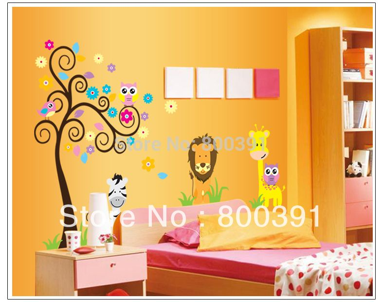 Find More Wall Stickers Information about Free shipping Owl Lion ...