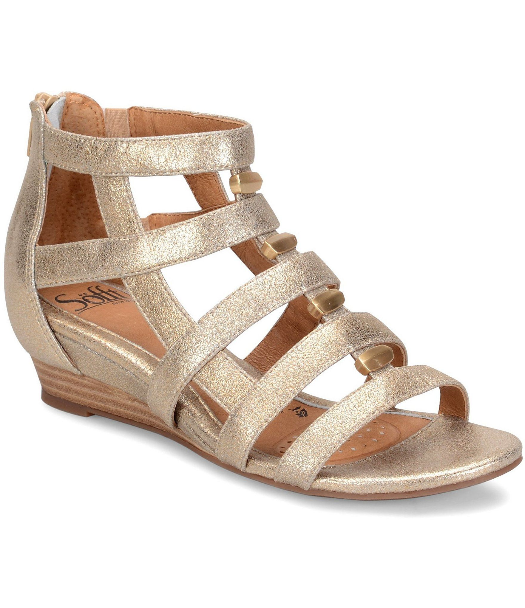 Sofft Rio Metallic Leather and Suede Wedges #Dillards