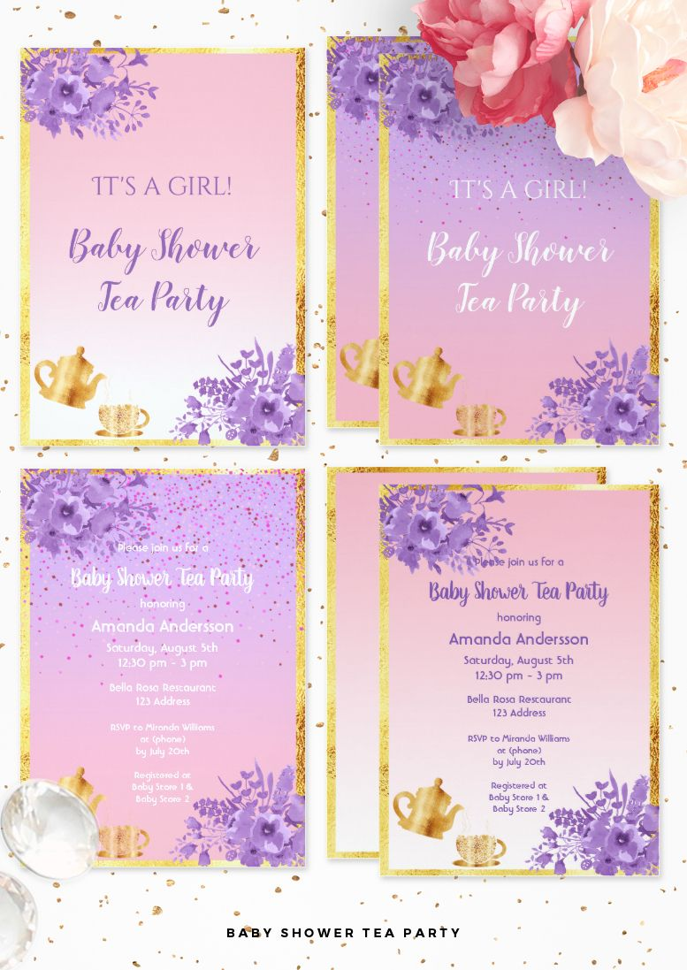 Baby Shower Tea Party Invitation Cards Rose Gold And Ultra Violet
