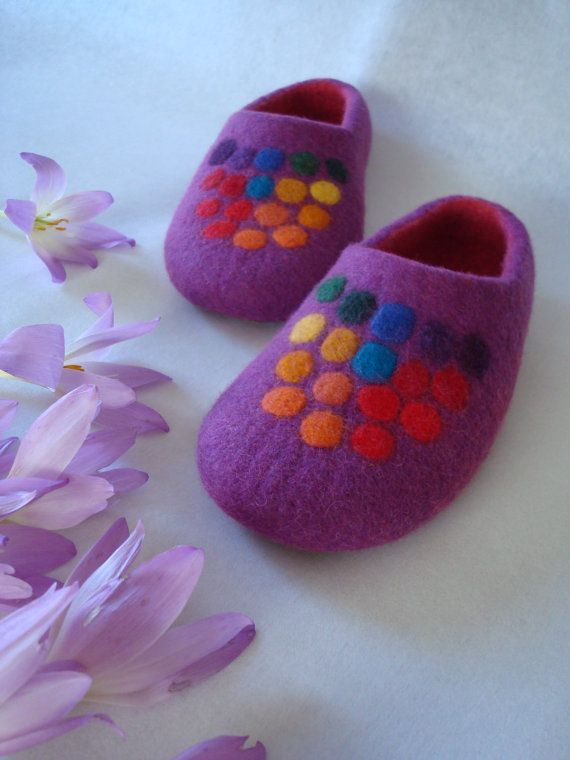 Felted purple wool slippers with Colorful polka dots