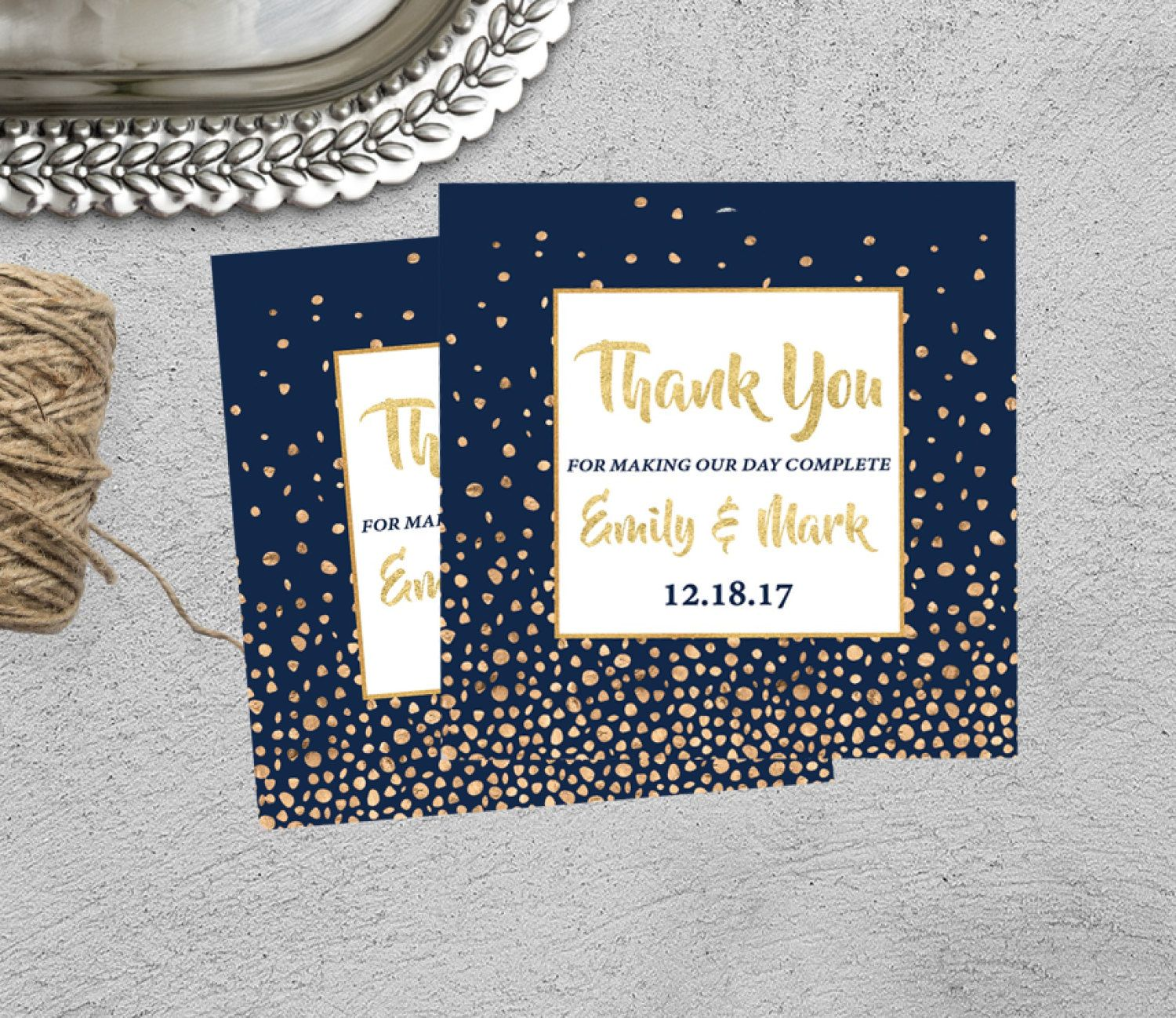 Navy and Gold Thank You Tag, Wedding Thank You Tag, Printable ...