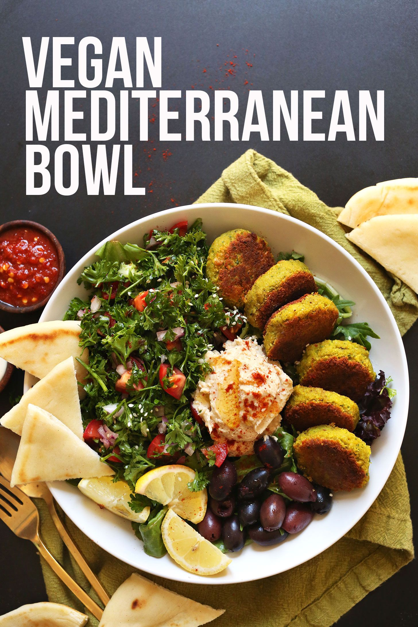 The Ultimate Mediterranean Bowl With Hummus Falafel Tahini Sauce Olives And