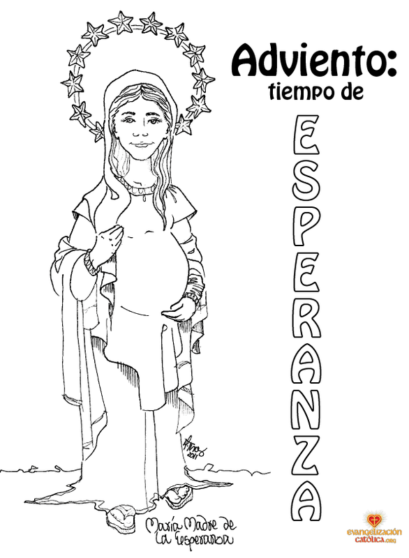 Mother Mary coloring page for Advent | Catholic Pinterest ...