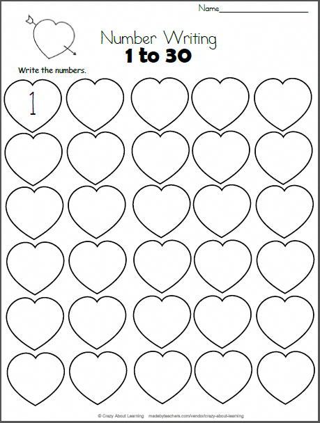 Free Valentines Day Math Worksheet Write The Numbers From 1 To 30