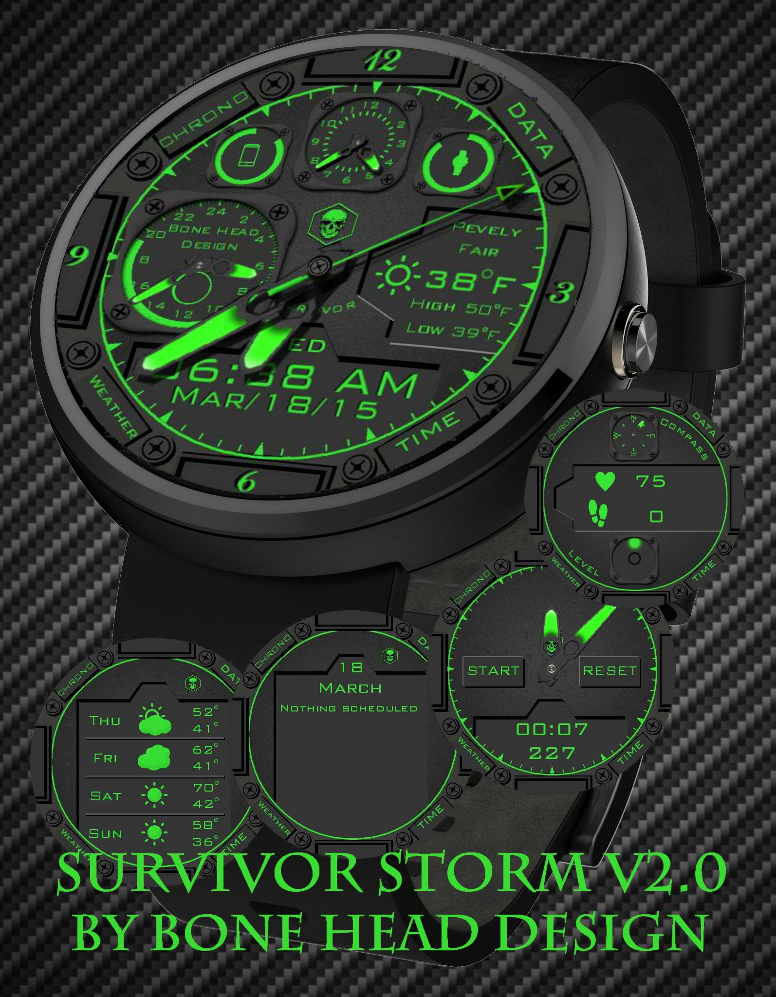 Survival Storm v2.0 Green watch face preview | Watches for