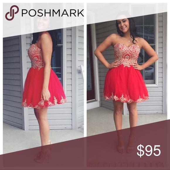 Prom Dress Red, short, strapless Dresses Prom