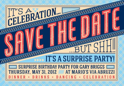 save the date surprise birthday party post cards surprise party on