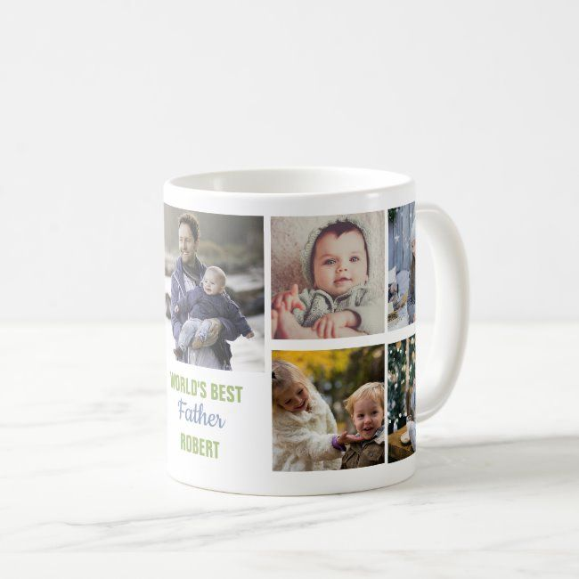 Worlds Best Father Instagram Photo Collage Name Coffee Mug Worldwide shipping