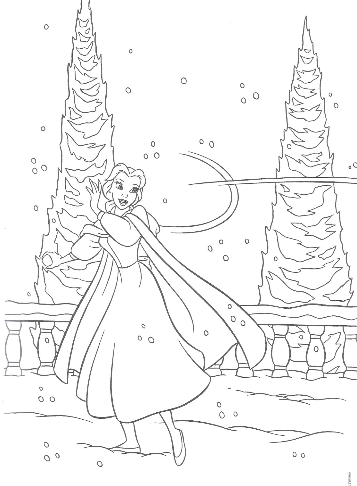 Unique Disney Princess Winter Coloring Pages