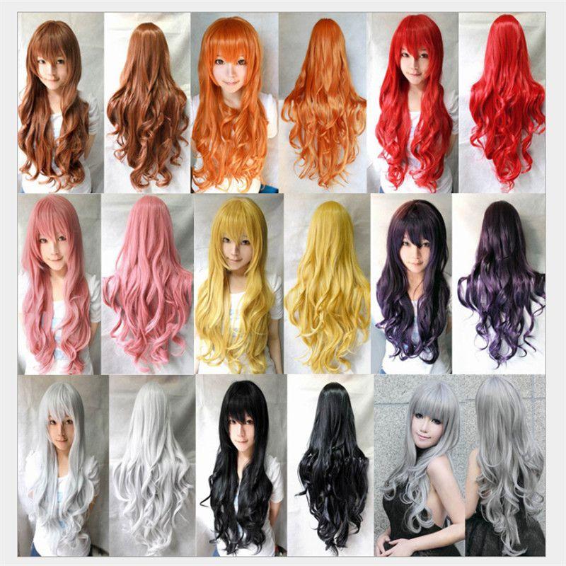 여성 여자 가발 긴 애니메이션 코스프레 가발 내열 물결 곱슬 가발 합성 머리 레드 블루 금발 검은 회색 가발 저렴한