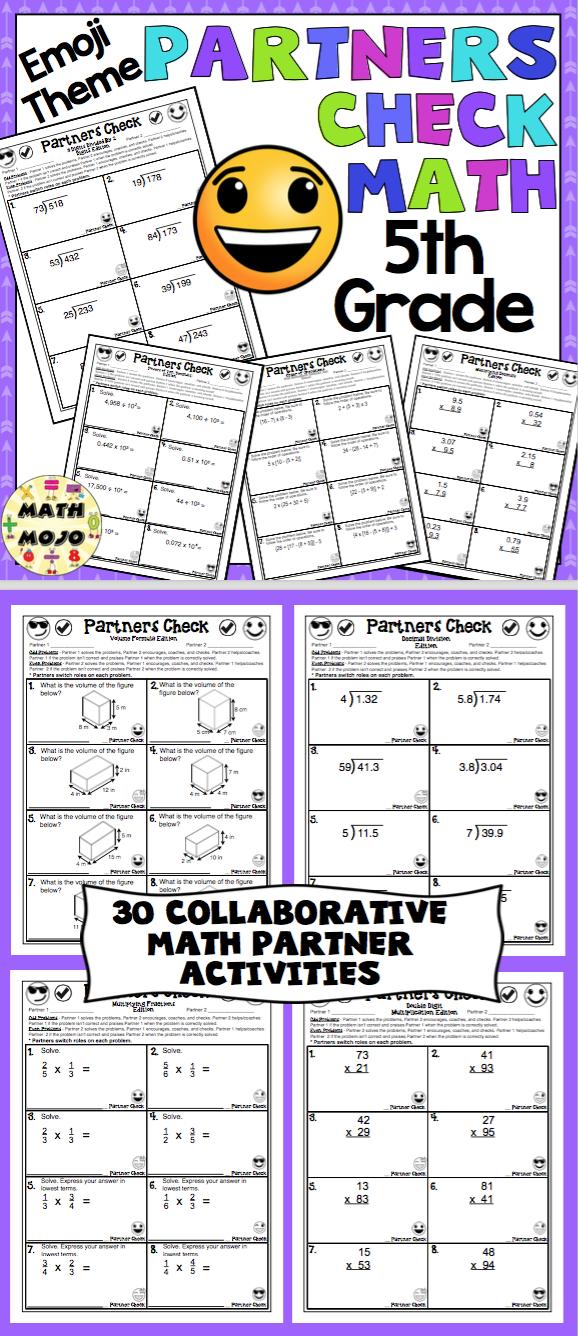 5th Grade Math: Emoji Theme Partners Check | Math activities ...