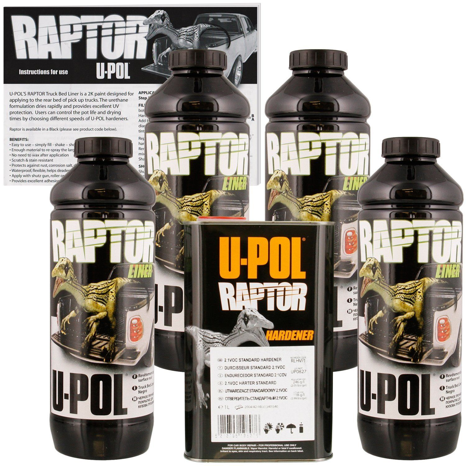 UPOL Raptor Black Bed Liner & Texture Coating, 4 Liters
