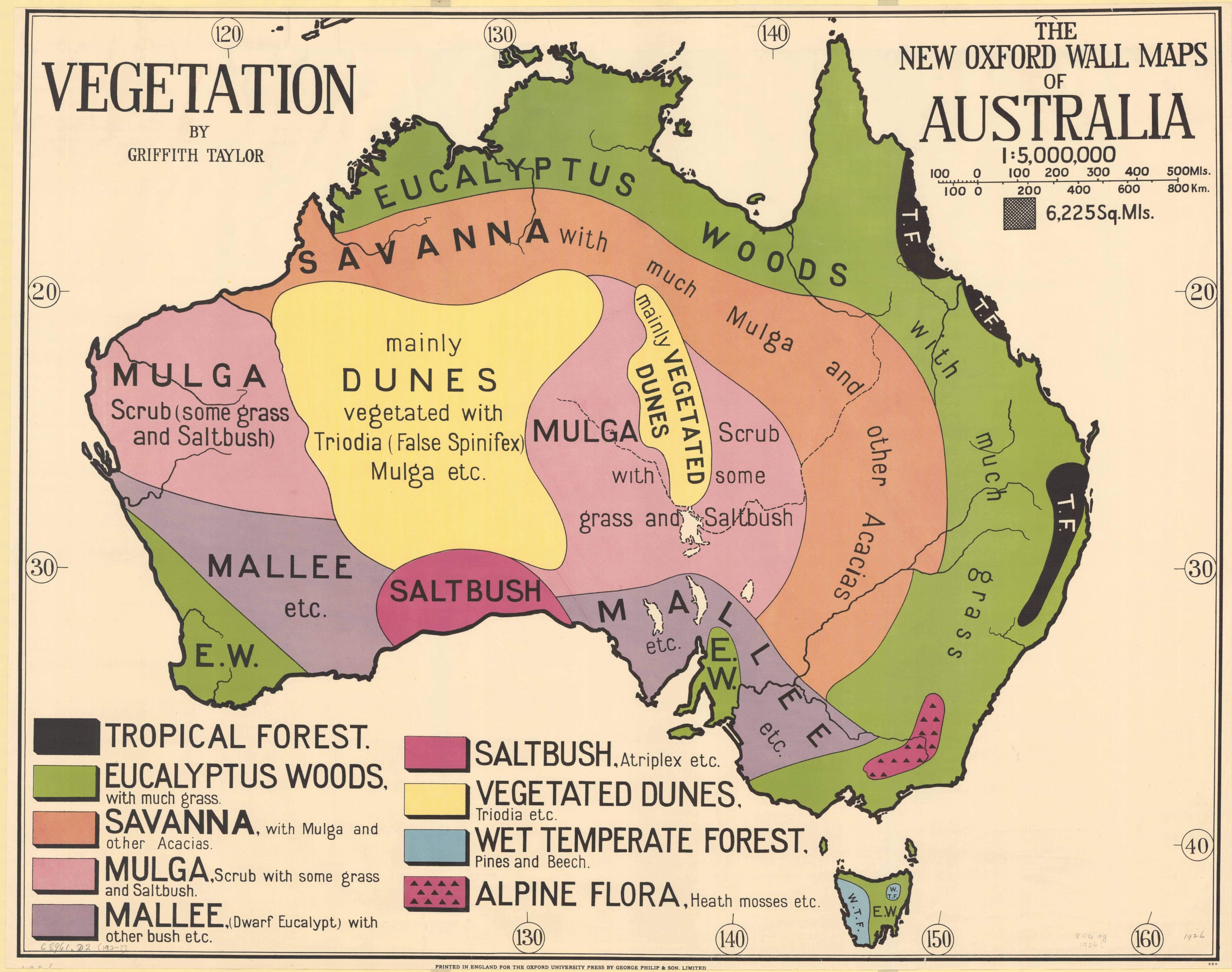 1920s Vegetation Map Of Australia Mapmania Australia Map Map
