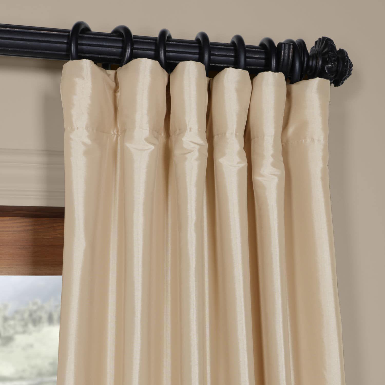 Beige Faux Silk Taffeta Curtain Curtains Silk Taffeta Silk Curtains