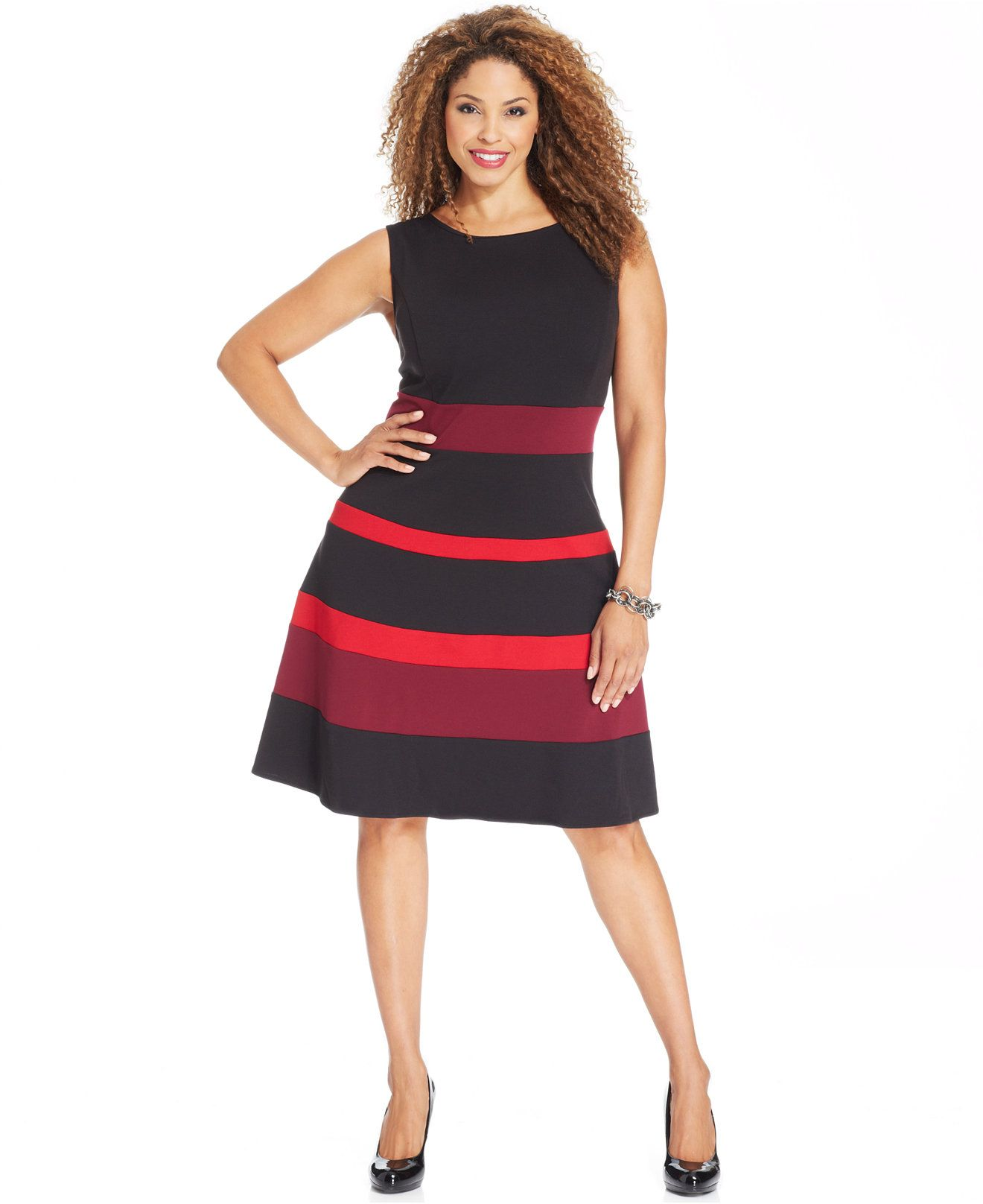 d9ad95d92ae NY Collection Plus Size Sleeveless Ponte-Knit Colorblocked A-Line Dress -  Dresses - Plus Sizes - Macy s