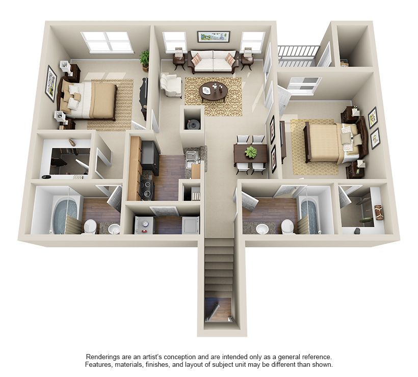 One Two Three Bedroom Apartments For Rent Villas At Huffmeister Houston Texas Apartment Small House Floor Plans Sims House Design Apartment Layout