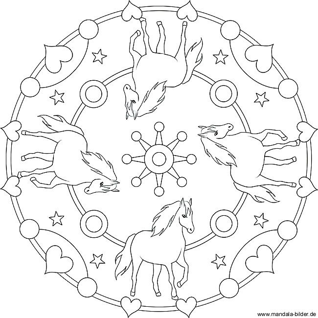 Mandala With Four Horses Coloring Pictures For Kids Basteln