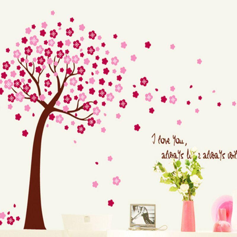 romantique rose peach blossom fleur wall sticker accueil decal