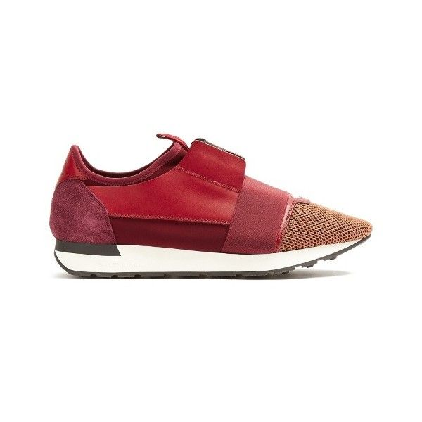 7c83e62fa7e Balenciaga Race Runner panelled low-top trainers (€565) ❤ liked on Polyvore  featuring men s fashion