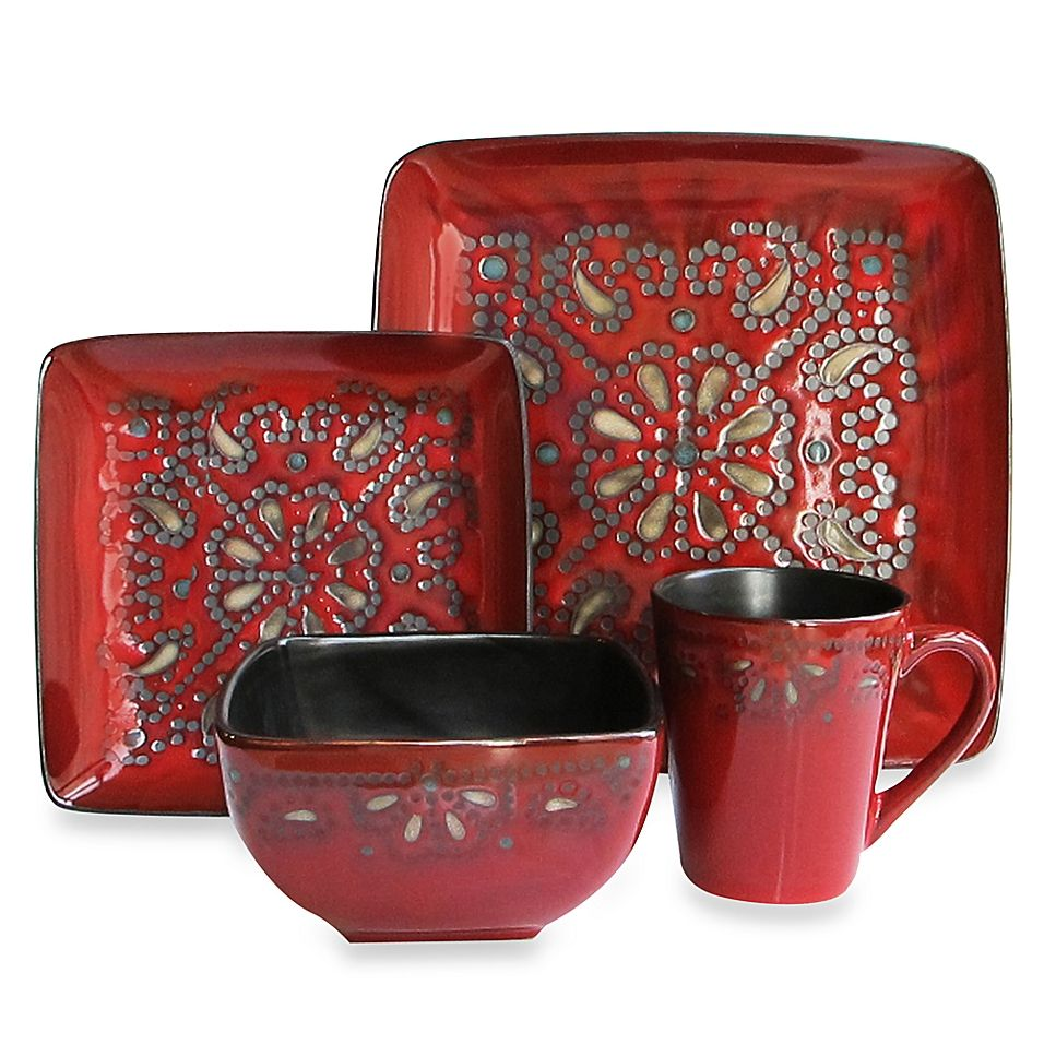 American Atelier Marquee 16 Piece Dinnerware Set In Red Square