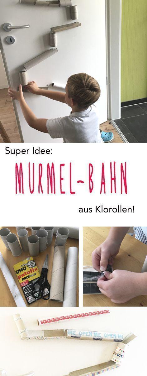 Basteltipp für Kinder: EInfache Klorollen – Murmelbahn!