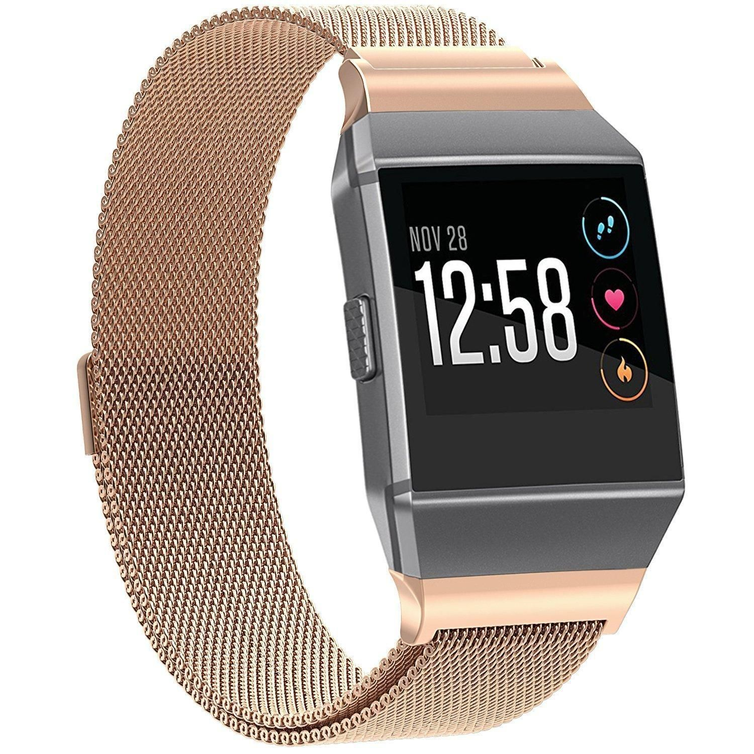 ROSE GOLD STEEL MESH New Small Replacement Wristband Strap Band For FITBIT  IONIC  9037fbede7b