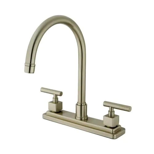 Elements Of Design Claremont Brushed Nickel 2 Handle Deck Mount High Arc Handle Kitchen Faucet Deck Plate Included Lowes Com High Arc Kitchen Faucet Kitchen Faucet With Sprayer Kitchen Faucet