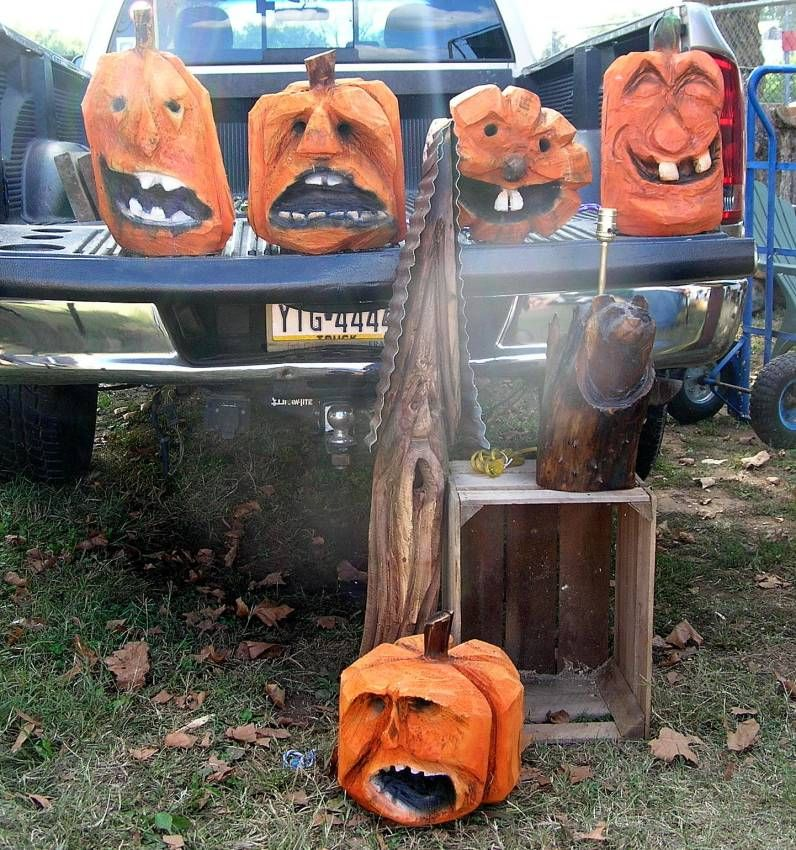 Pumpkin chainsaw carvings by jake lil bits of me
