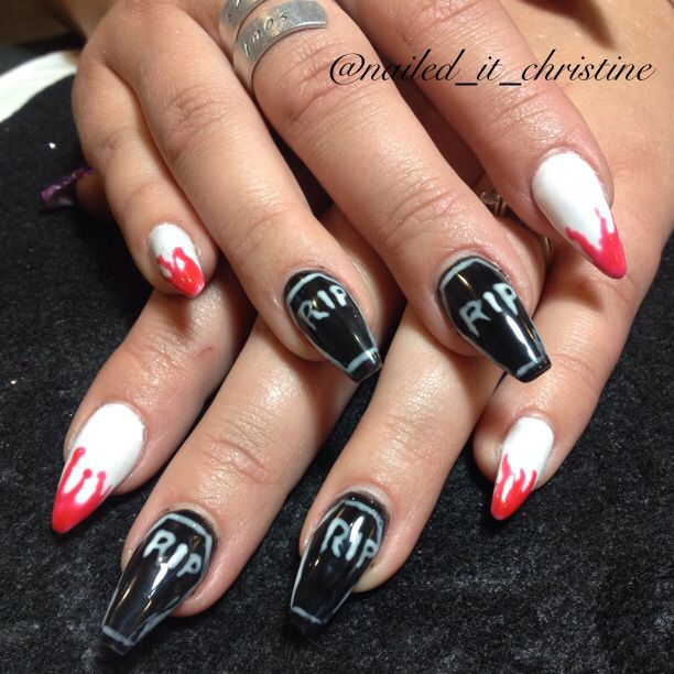 Coffin shaped halloween acrylic nail art