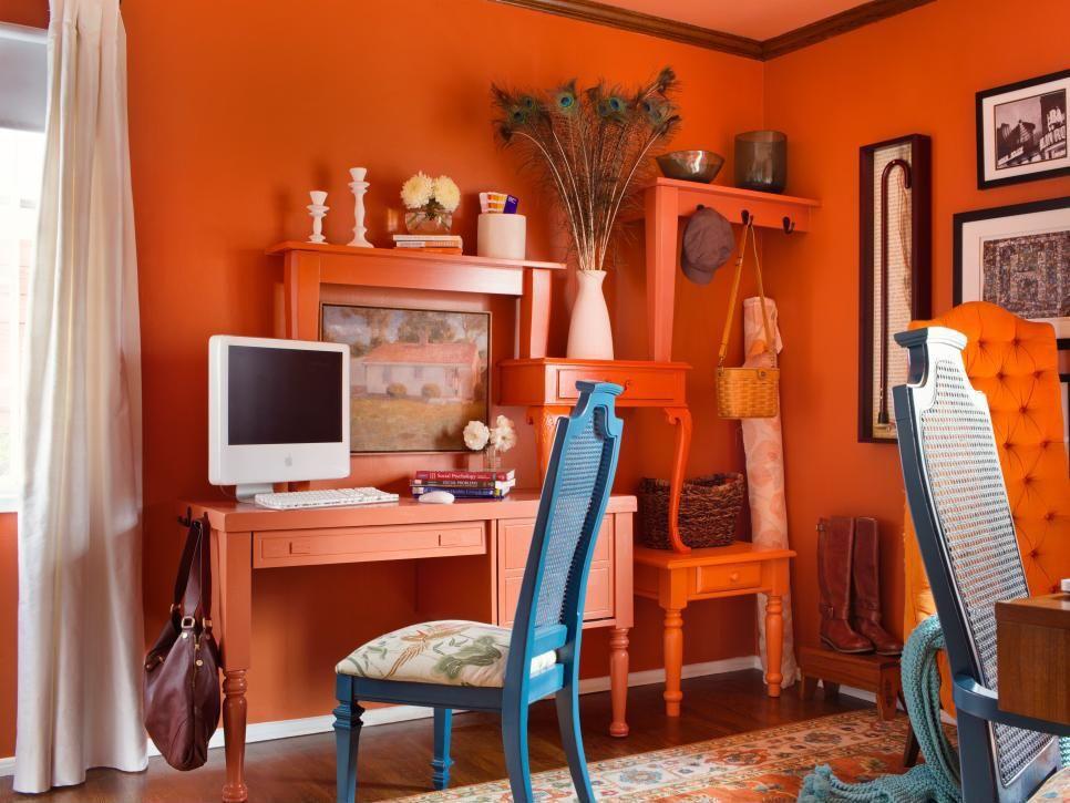 Narancssárga home office - dolgozószoba ötlet, eklektikus - home office arbeitnehmer arbeitgeber