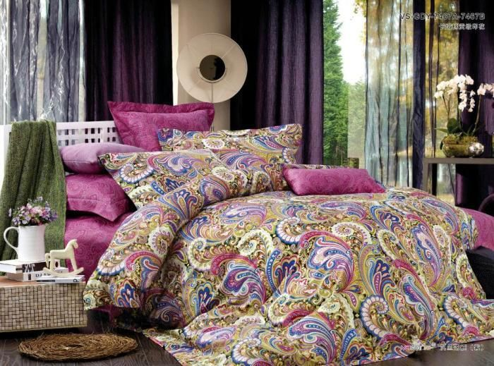 Luxury Orange Paisley Bedding Pink Paisley Satin Luxury Bedding