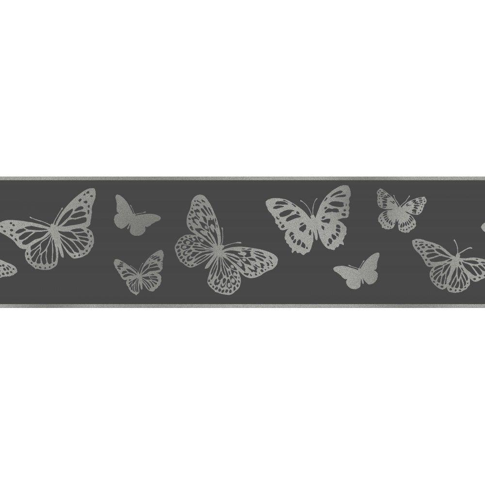 Glitz Butterfly Glitter Wallpaper Border Black / Silver