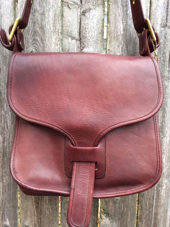 Burgundy 70s Coach Made in New York City Leather Shoulder Courier Saddle  Bag Purse Flap Tab 5a56450a8ba8b