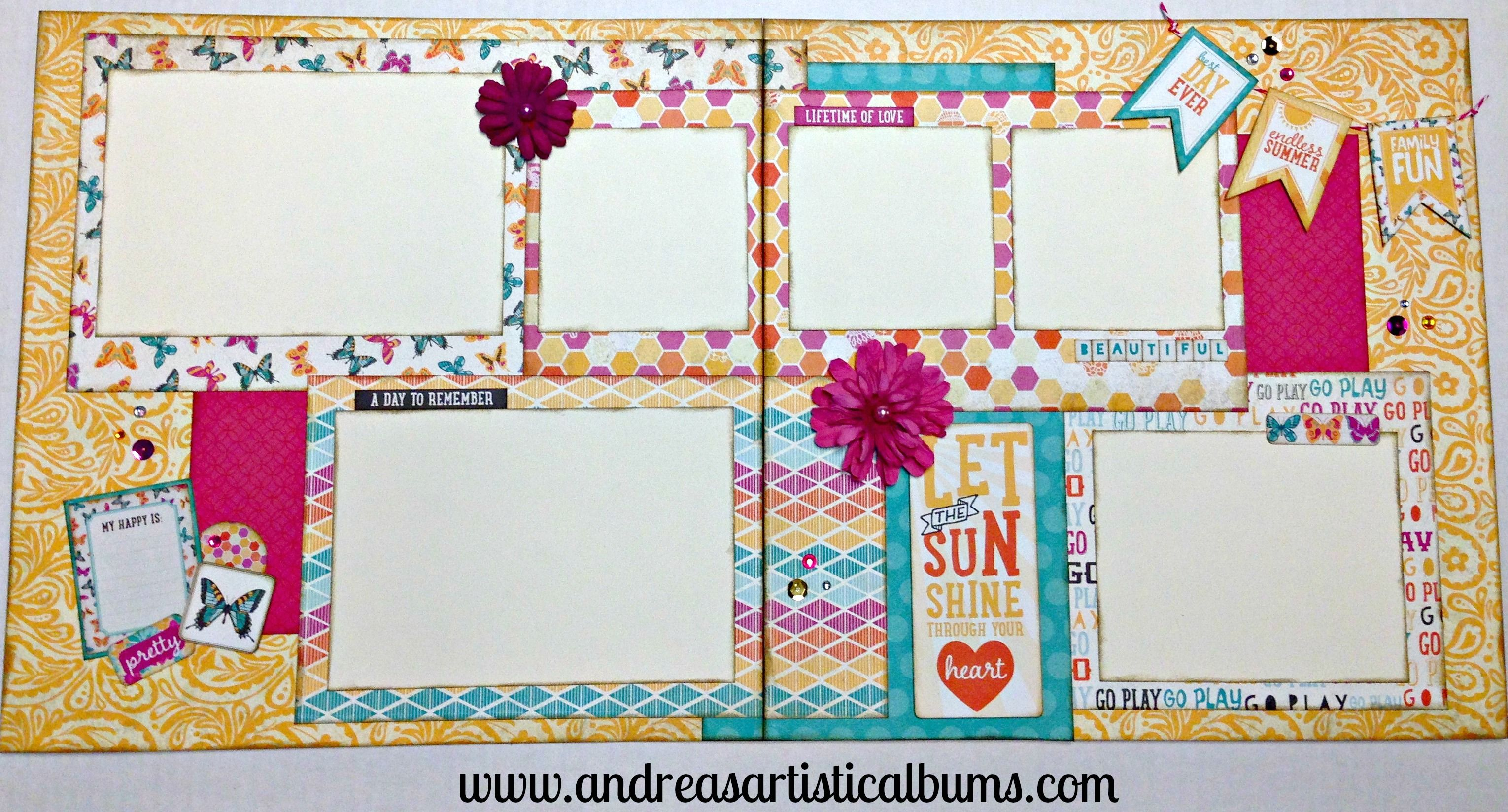 Summer scrapbook layout using @beauthentique Radiant paper collection.  Holds a minimum of 6 photos!