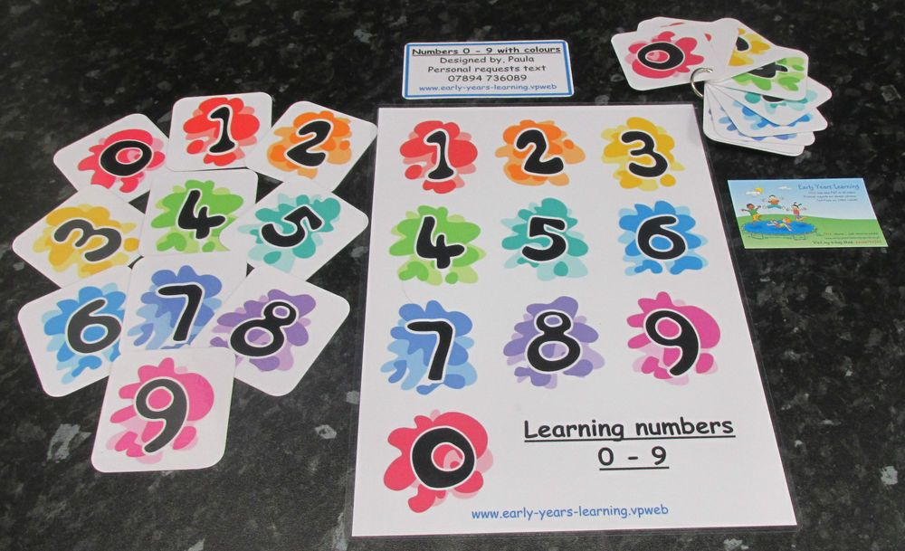 Numbers~colours POSTER various designs ~ Autism~EFYS~SEN~Schools~Childminders