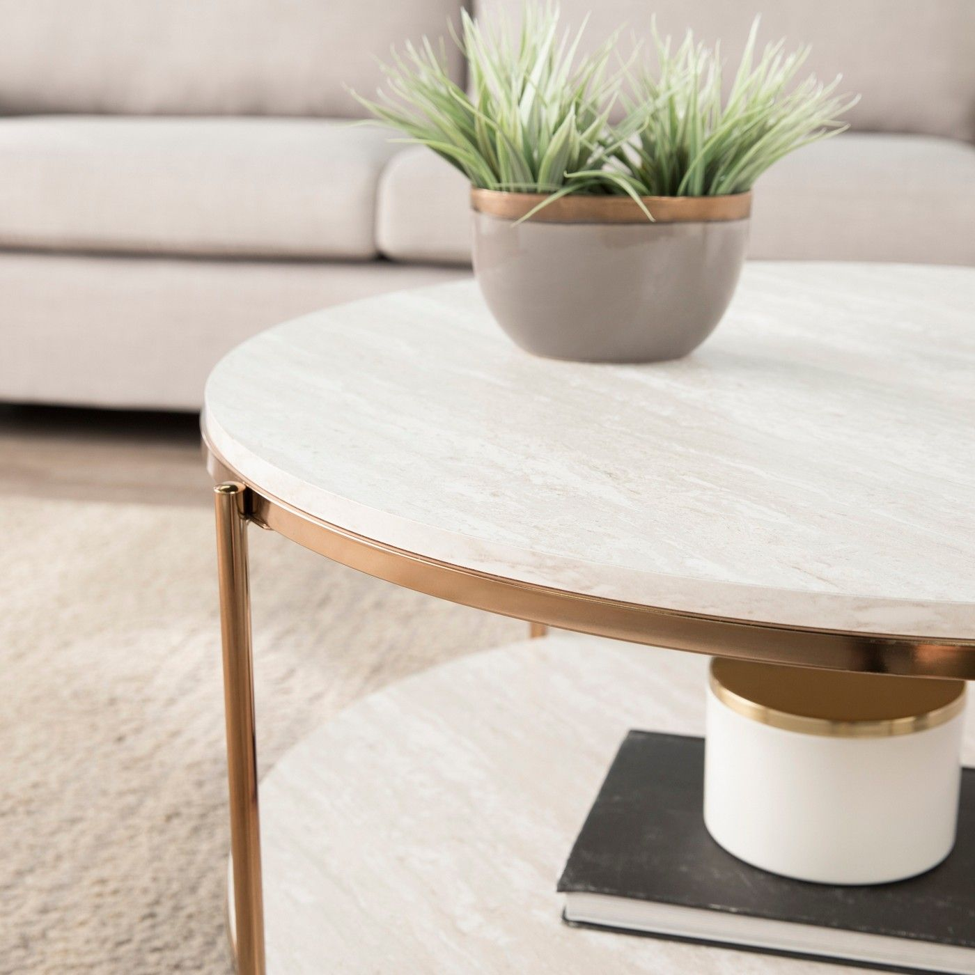 Sula Round Faux Stone Cocktail Table Aiden Lane Stone Coffee Table Coffee Table With Shelf White Round Coffee Table [ 1400 x 1400 Pixel ]